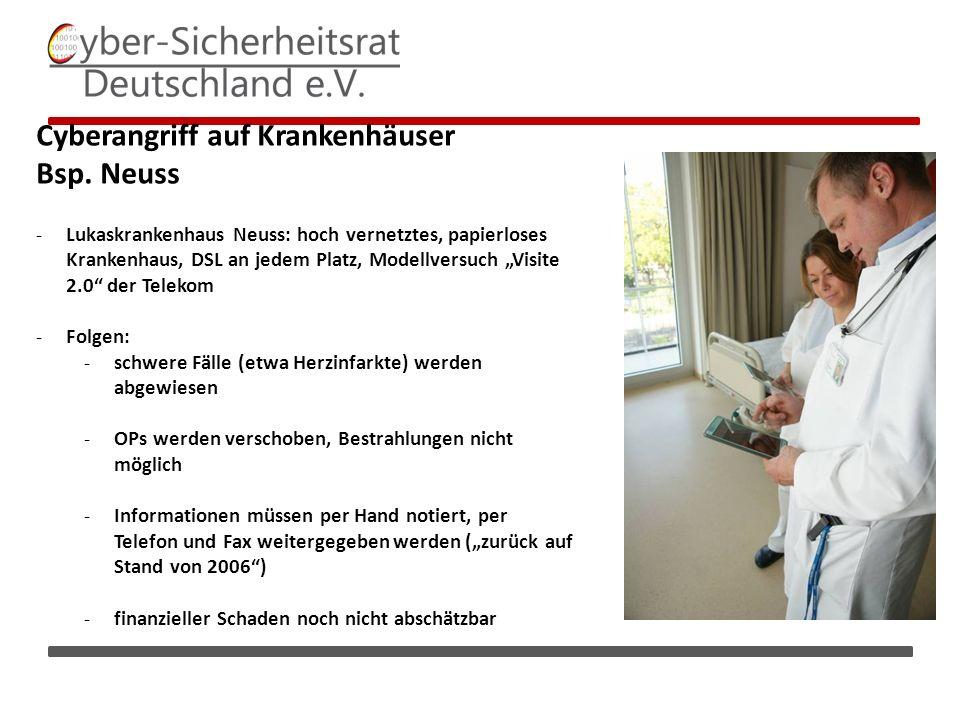 Cyberangriff auf Krankenhäuser Bsp.