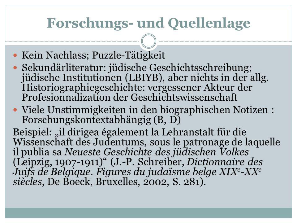 Forschungs- und Quellenlage Kein Nachlass; Puzzle-Tätigkeit Sekundärliteratur: jüdische Geschichtsschreibung; jüdische Institutionen (LBIYB), aber nichts in der allg.