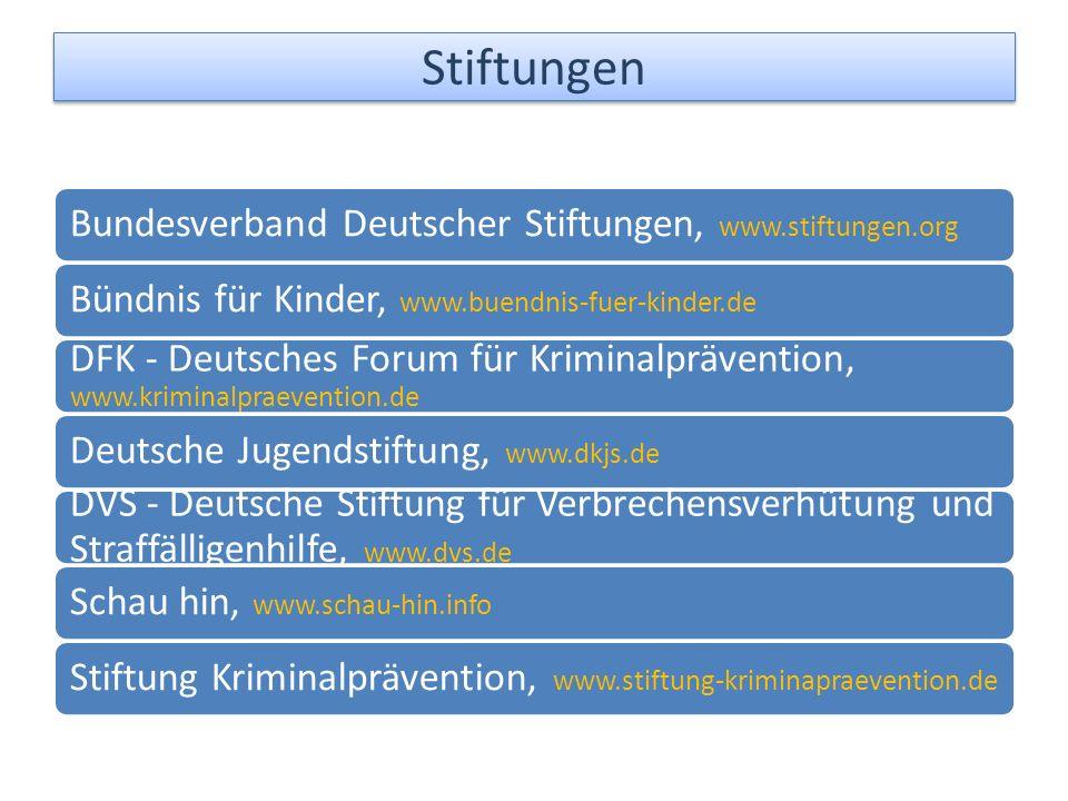 Bundesverband Deutscher Stiftungen, www.stiftungen.org Bündnis für Kinder, www.buendnis-fuer-kinder.de DFK - Deutsches Forum für Kriminalprävention, www.kriminalpraevention.de Deutsche Jugendstiftung, www.dkjs.de DVS - Deutsche Stiftung für Verbrechensverhütung und Straffälligenhilfe, www.dvs.de Schau hin, www.schau-hin.info Stiftung Kriminalprävention, www.stiftung-kriminapraevention.de Stiftungen