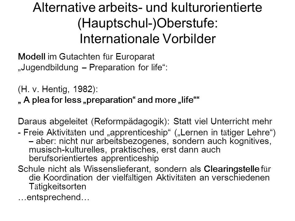 """Alternative arbeits- und kulturorientierte (Hauptschul-)Oberstufe: Internationale Vorbilder Modell im Gutachten f ü r Europarat """"Jugendbildung – Preparation for life : (H."""