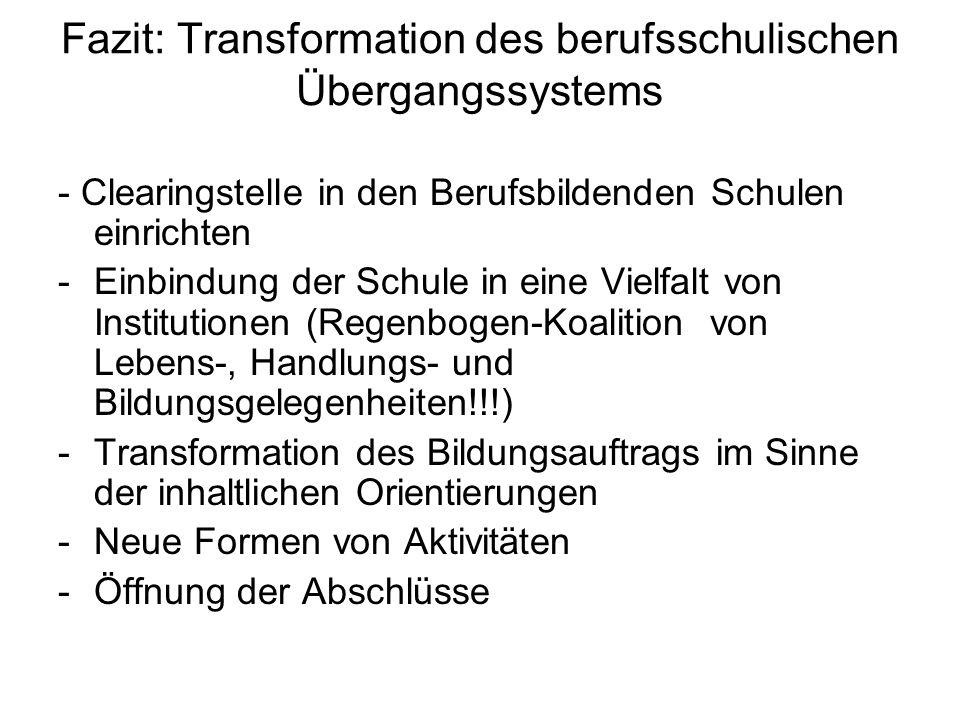 Fazit: Transformation des berufsschulischen Übergangssystems - Clearingstelle in den Berufsbildenden Schulen einrichten -Einbindung der Schule in eine Vielfalt von Institutionen (Regenbogen-Koalition von Lebens-, Handlungs- und Bildungsgelegenheiten!!!) -Transformation des Bildungsauftrags im Sinne der inhaltlichen Orientierungen -Neue Formen von Aktivitäten -Öffnung der Abschlüsse