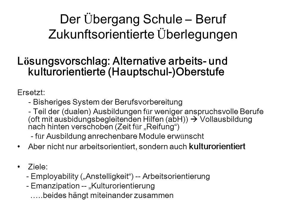 """Alternative arbeits- und kulturorientierte (Hauptschul-)Oberstufe Zielgruppen: - Angeh ö rige des bisherigen (deutschen) Ü bergangssystems: AVJ, BVB, """"Verschwundene , BFS I, BVJ, EQJ, Teilnehmer an Kursen freier Tr ä ger, u."""