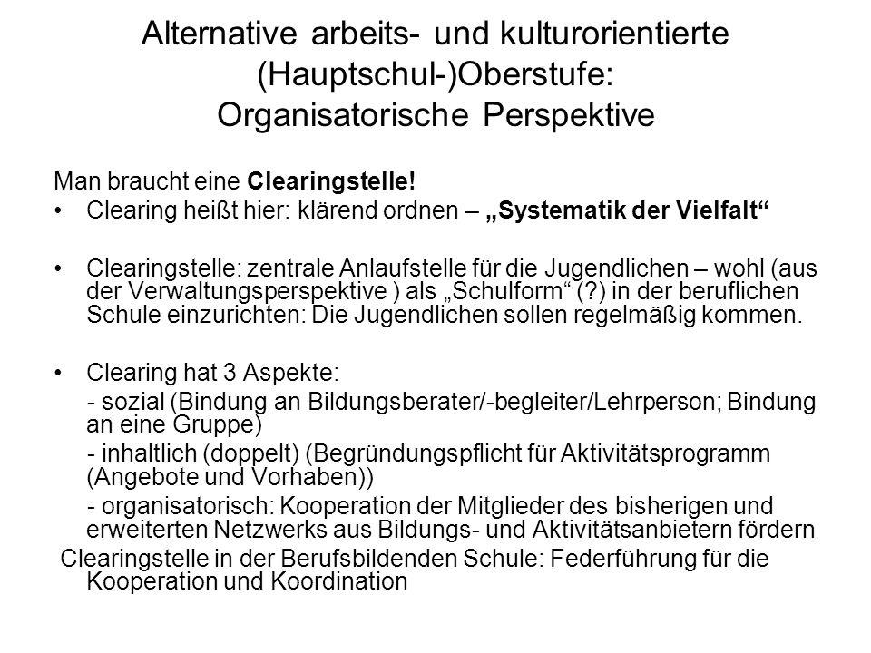 Alternative arbeits- und kulturorientierte (Hauptschul-)Oberstufe: Organisatorische Perspektive Man braucht eine Clearingstelle.