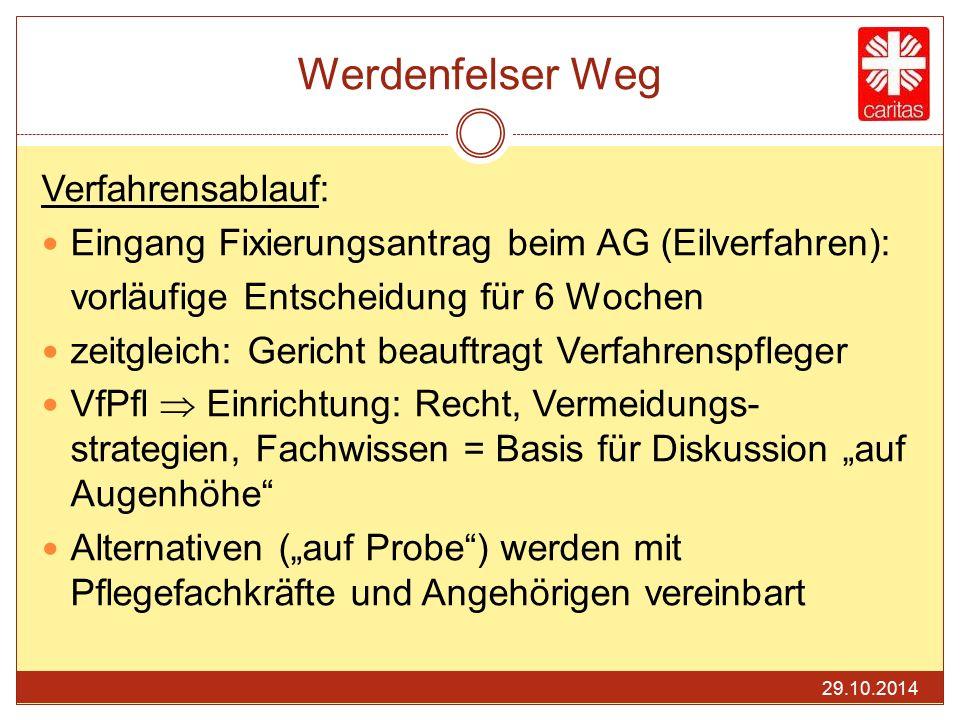 Werdenfelser Weg Verfahrensablauf: Eingang Fixierungsantrag beim AG (Eilverfahren): vorläufige Entscheidung für 6 Wochen zeitgleich: Gericht beauftrag