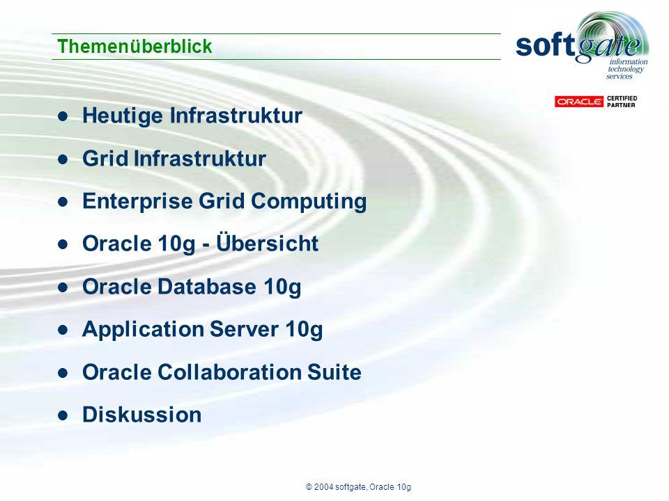 © 2004 softgate, Oracle 10g Ausgelegt für Spitzenlast Begrenzt skalierbar Verfügbarkeit < 99.x% Unterschiedliche Sicherheitslevel Problem: Heutige IT Infrastruktur