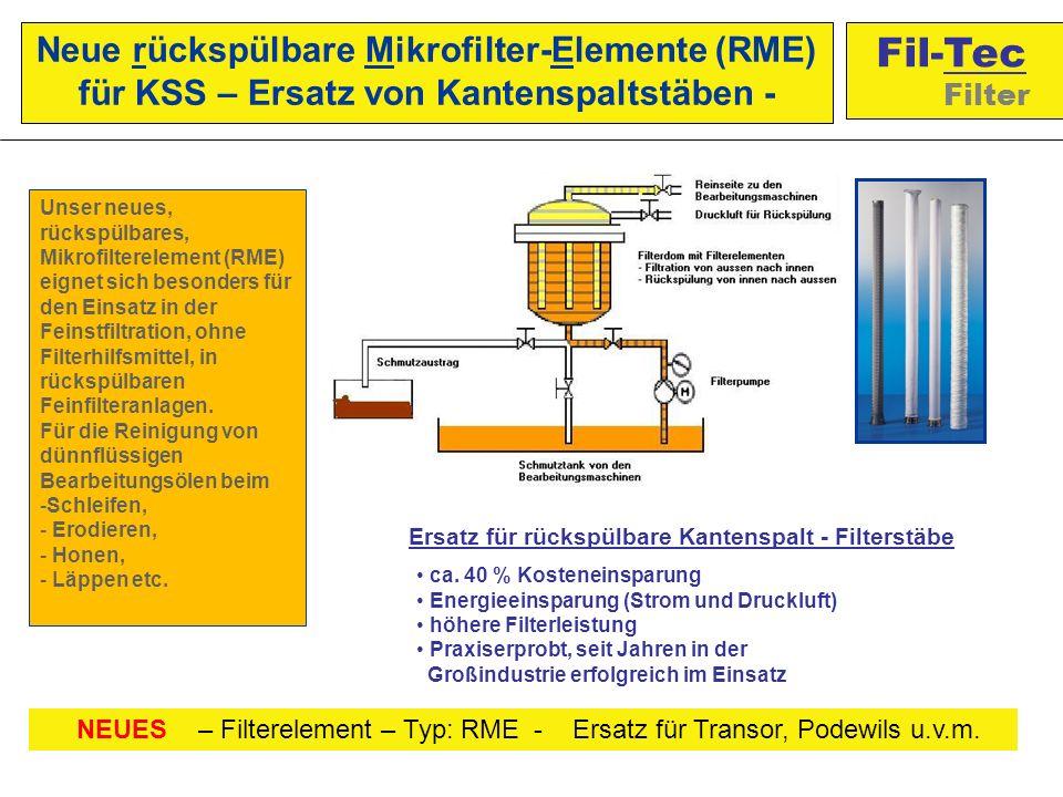 Unser neues, rückspülbares, Mikrofilterelement (RME) eignet sich besonders für den Einsatz in der Feinstfiltration, ohne Filterhilfsmittel, in rückspülbaren Feinfilteranlagen.