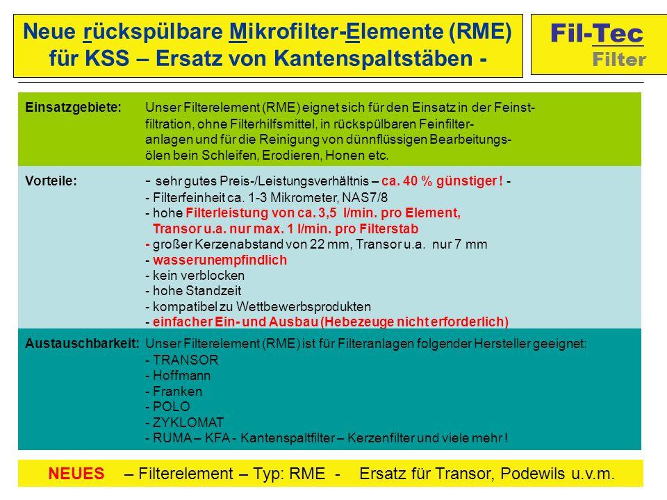 Einsatzgebiete: Unser Filterelement (RME) eignet sich für den Einsatz in der Feinst- filtration, ohne Filterhilfsmittel, in rückspülbaren Feinfilter- anlagen und für die Reinigung von dünnflüssigen Bearbeitungs- ölen bein Schleifen, Erodieren, Honen etc.