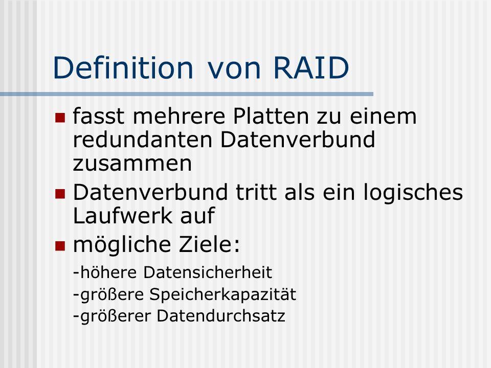 Definition von RAID fasst mehrere Platten zu einem redundanten Datenverbund zusammen Datenverbund tritt als ein logisches Laufwerk auf mögliche Ziele: