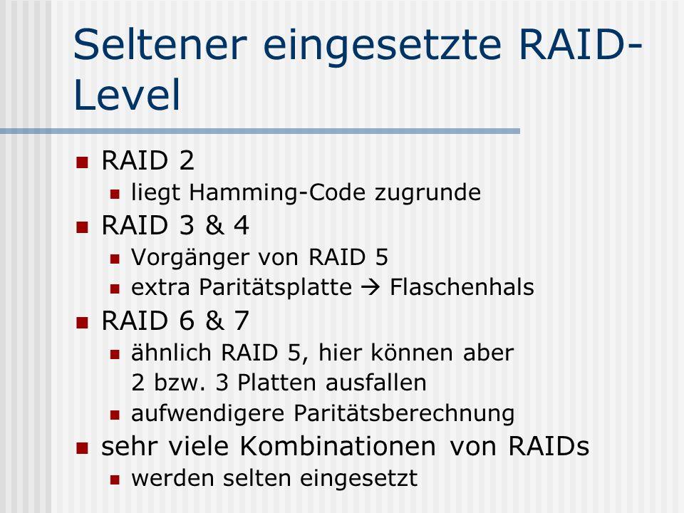 Seltener eingesetzte RAID- Level RAID 2 liegt Hamming-Code zugrunde RAID 3 & 4 Vorgänger von RAID 5 extra Paritätsplatte  Flaschenhals RAID 6 & 7 ähn