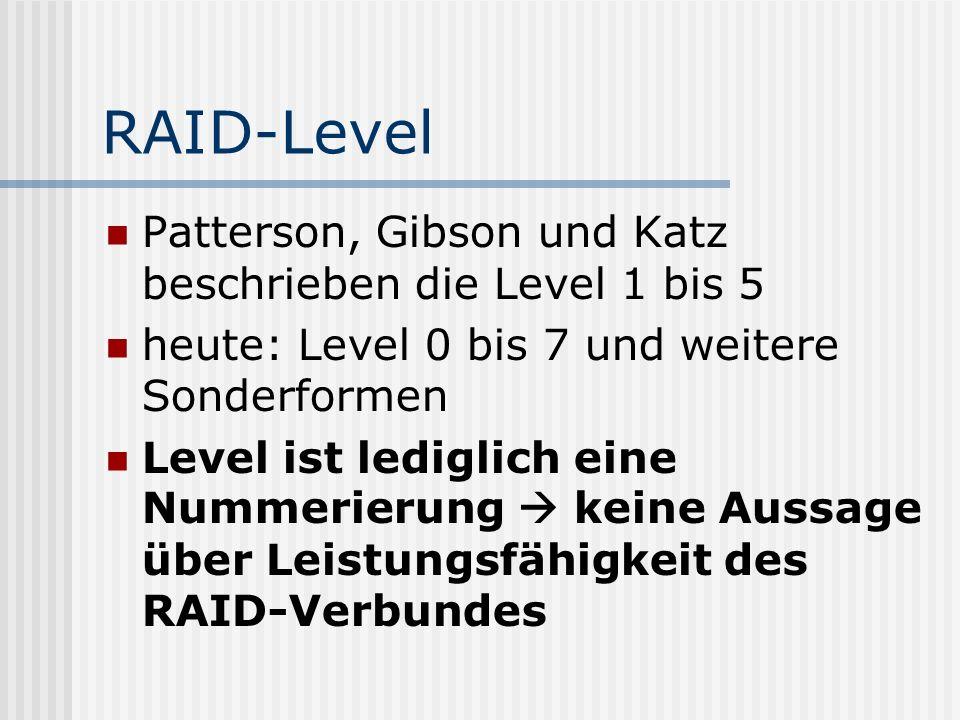 RAID-Level Patterson, Gibson und Katz beschrieben die Level 1 bis 5 heute: Level 0 bis 7 und weitere Sonderformen Level ist lediglich eine Nummerierun