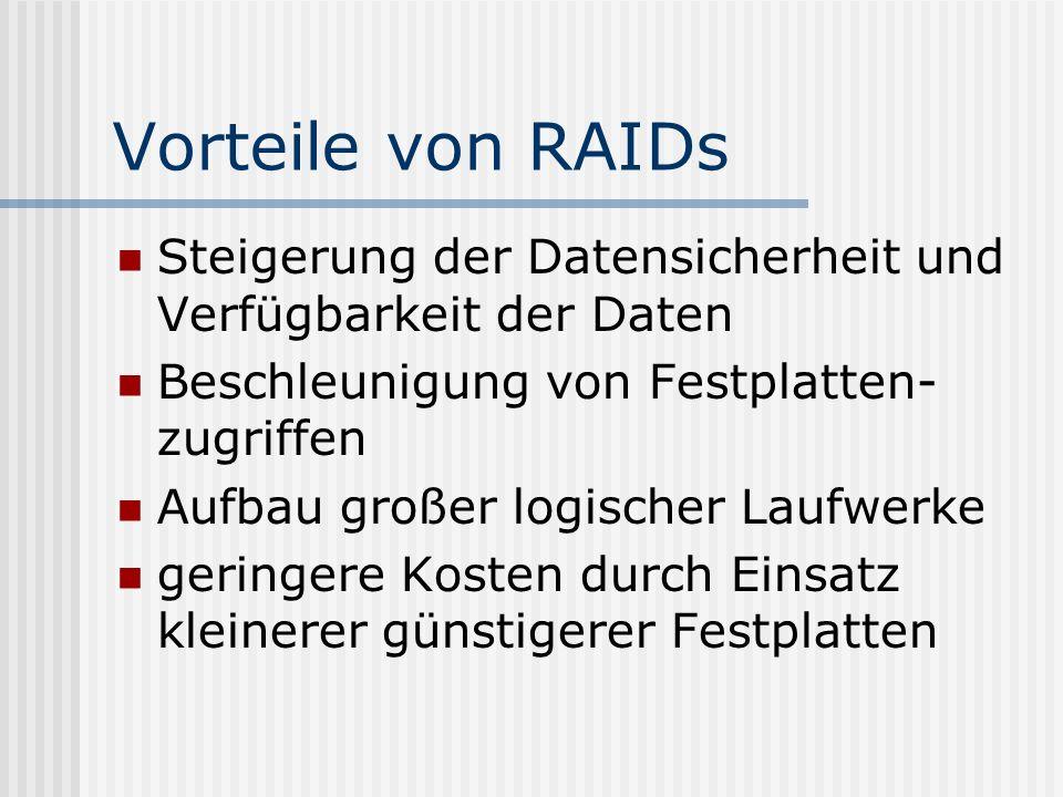 Vorteile von RAIDs Steigerung der Datensicherheit und Verfügbarkeit der Daten Beschleunigung von Festplatten- zugriffen Aufbau großer logischer Laufwe