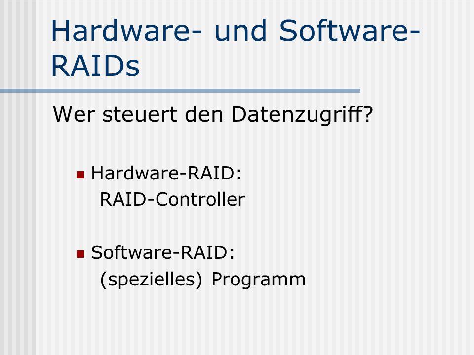 Hardware- und Software- RAIDs Wer steuert den Datenzugriff? Hardware-RAID: RAID-Controller Software-RAID: (spezielles) Programm