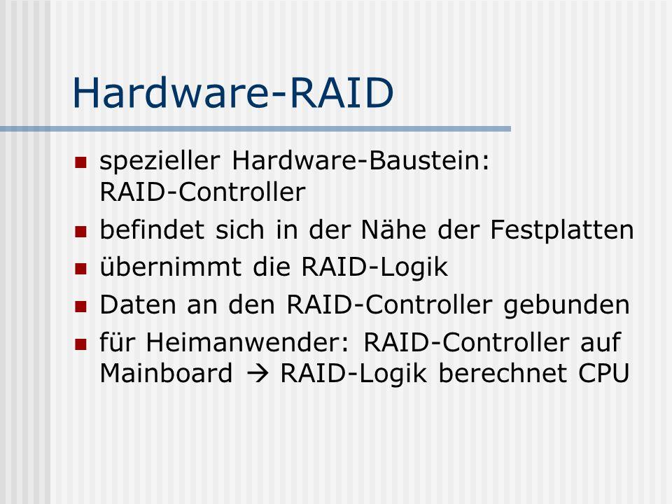 Hardware-RAID spezieller Hardware-Baustein: RAID-Controller befindet sich in der Nähe der Festplatten übernimmt die RAID-Logik Daten an den RAID-Contr