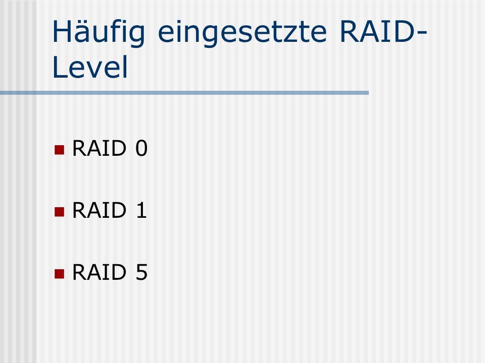 Häufig eingesetzte RAID- Level RAID 0 RAID 1 RAID 5