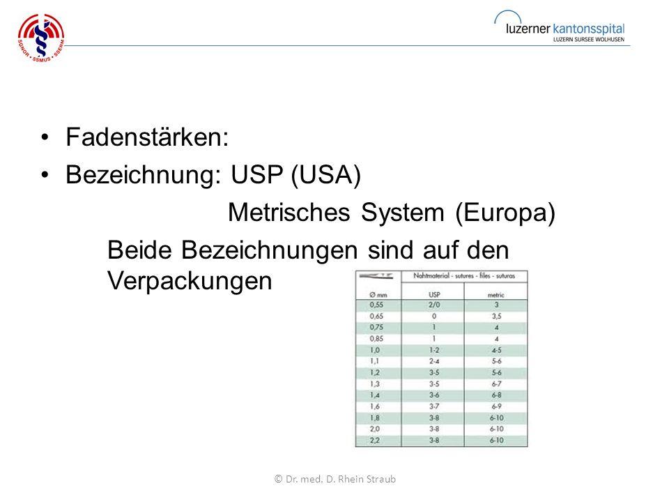 Fadenstärken: Bezeichnung: USP (USA) Metrisches System (Europa) Beide Bezeichnungen sind auf den Verpackungen © Dr.
