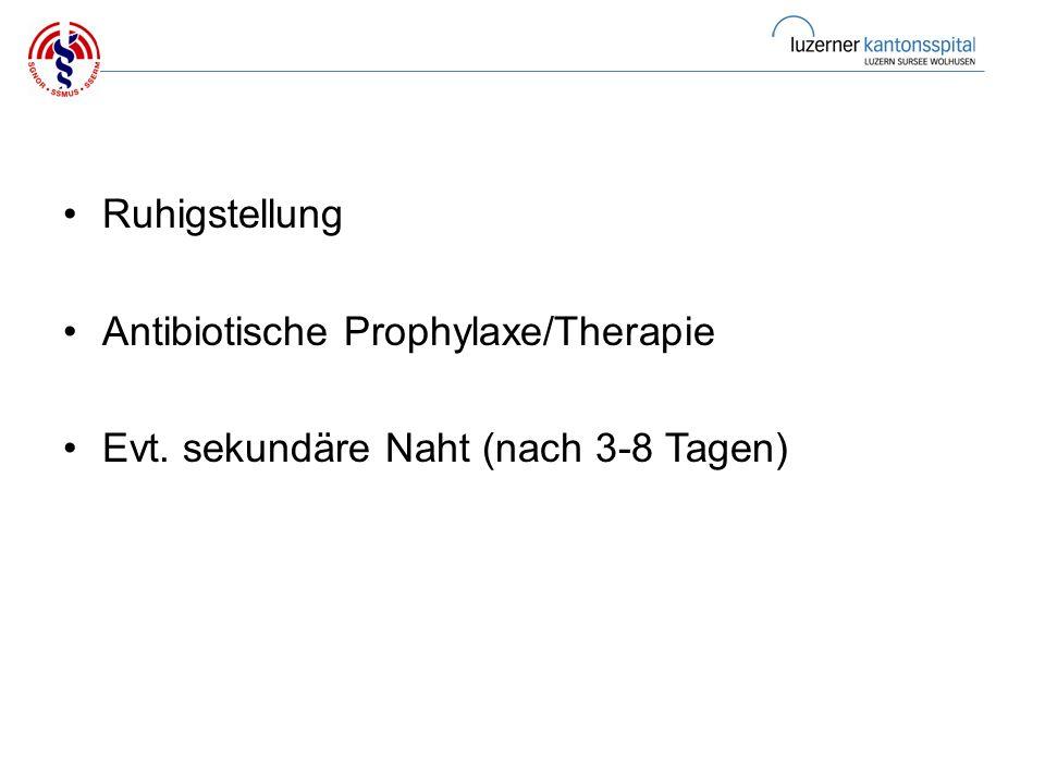Ruhigstellung Antibiotische Prophylaxe/Therapie Evt. sekundäre Naht (nach 3-8 Tagen)
