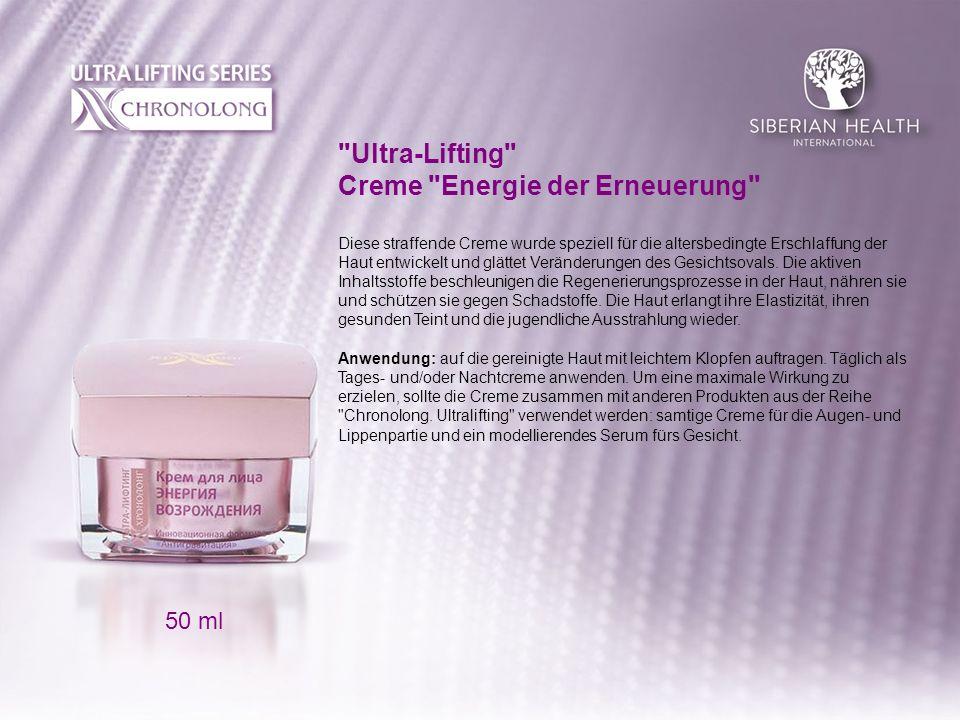 Ultra-Lifting Creme Energie der Erneuerung Diese straffende Creme wurde speziell für die altersbedingte Erschlaffung der Haut entwickelt und glättet Veränderungen des Gesichtsovals.