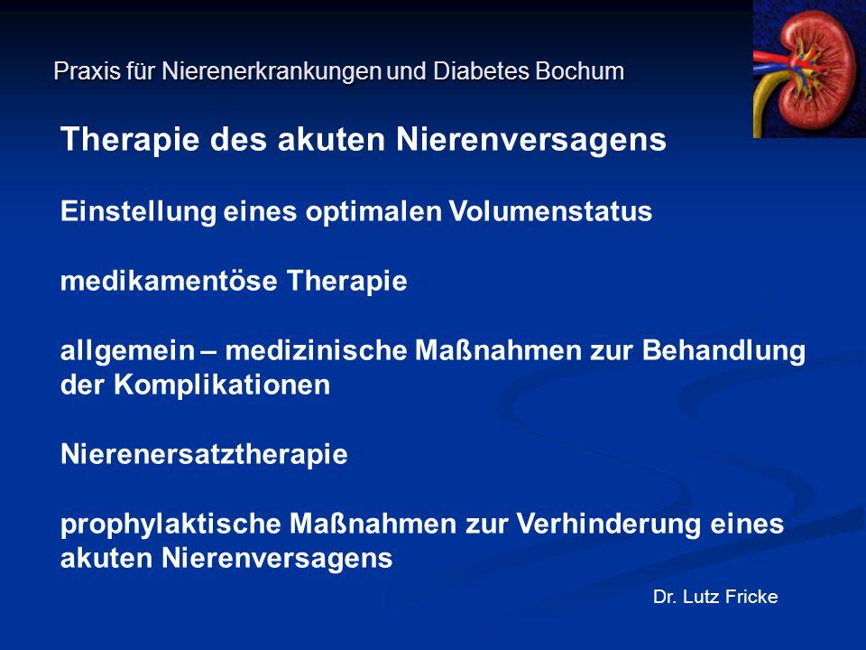 Praxis für Nierenerkrankungen und Diabetes Bochum Dr. Lutz Fricke Therapie des akuten Nierenversagens Einstellung eines optimalen Volumenstatus medika