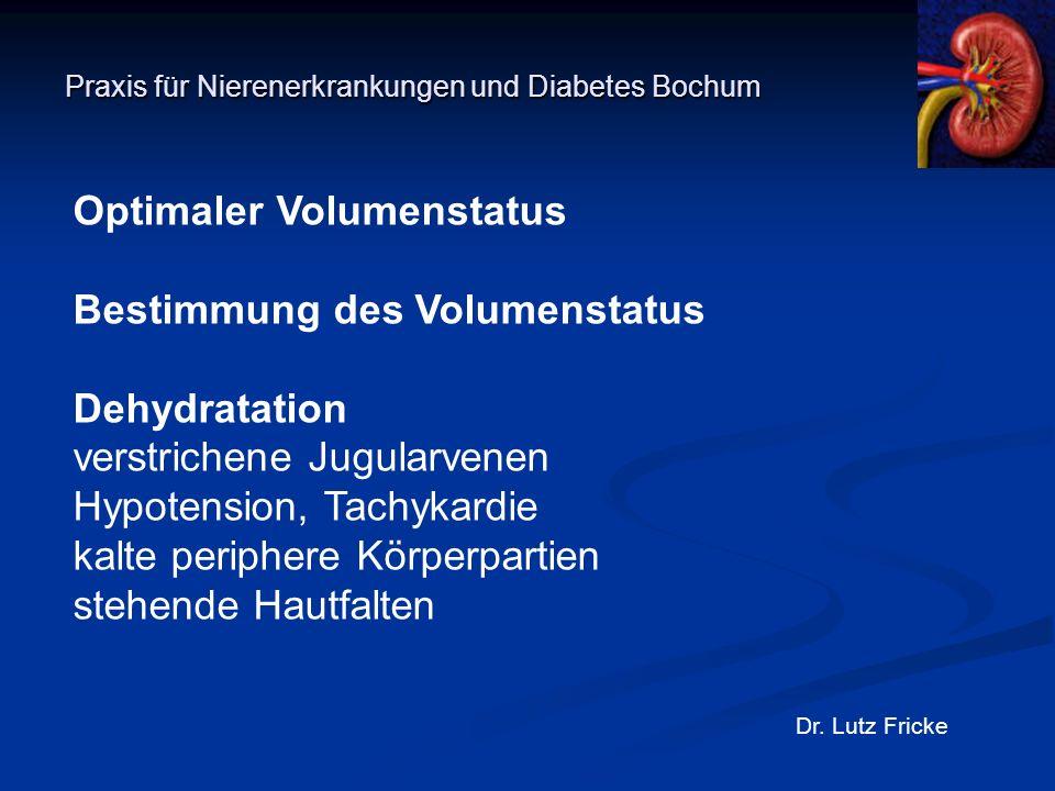 Praxis für Nierenerkrankungen und Diabetes Bochum Dr. Lutz Fricke Optimaler Volumenstatus Bestimmung des Volumenstatus Dehydratation verstrichene Jugu