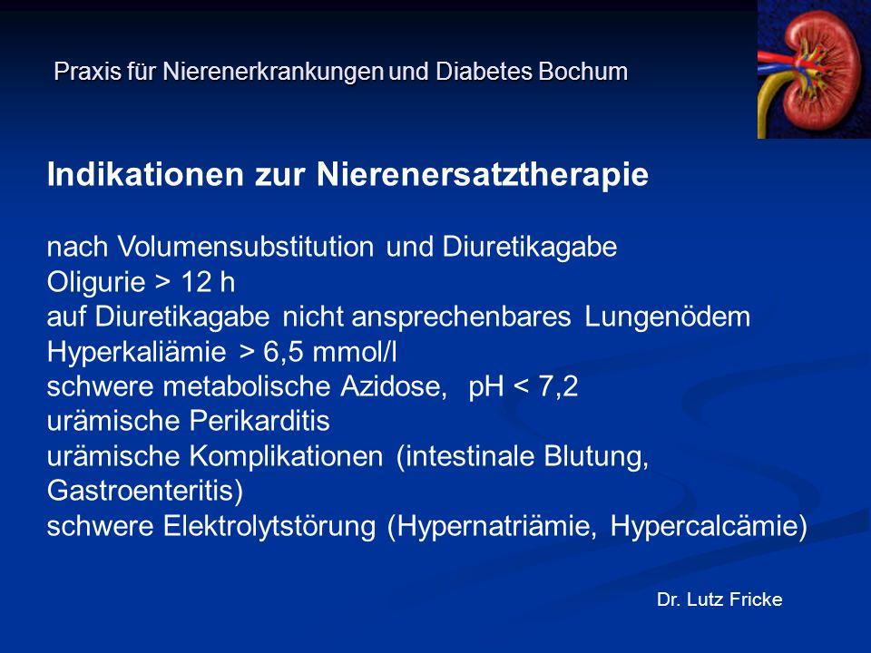 Praxis für Nierenerkrankungen und Diabetes Bochum Dr. Lutz Fricke Indikationen zur Nierenersatztherapie nach Volumensubstitution und Diuretikagabe Oli