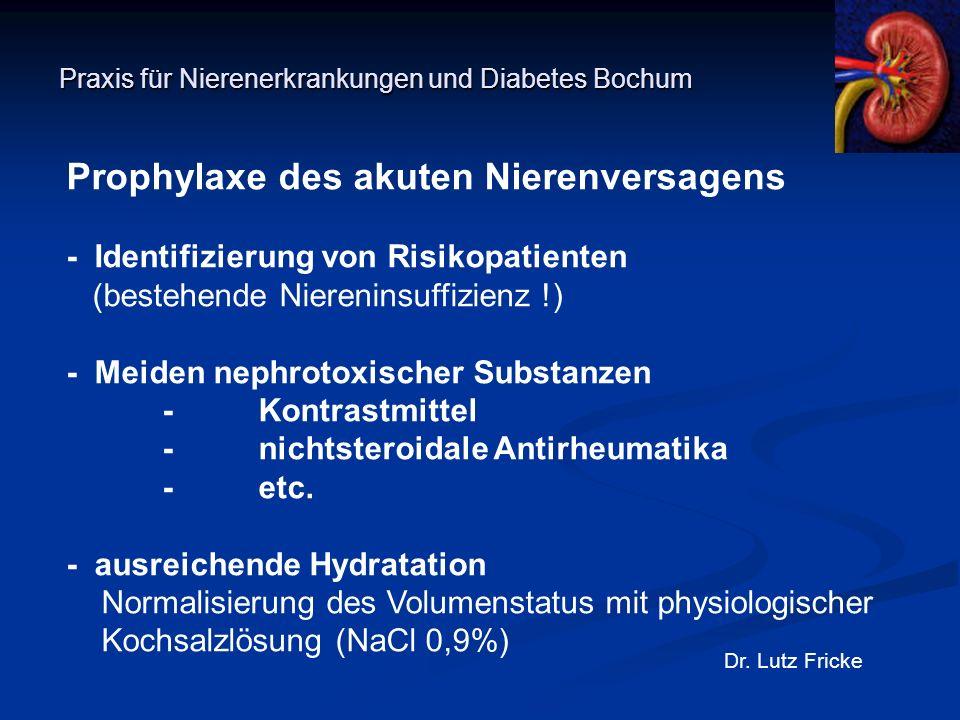 Praxis für Nierenerkrankungen und Diabetes Bochum Dr. Lutz Fricke Prophylaxe des akuten Nierenversagens - Identifizierung von Risikopatienten (bestehe
