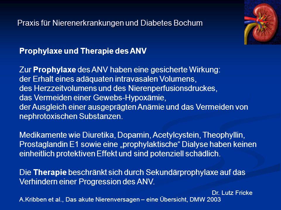 Praxis für Nierenerkrankungen und Diabetes Bochum Dr. Lutz Fricke Prophylaxe und Therapie des ANV Zur Prophylaxe des ANV haben eine gesicherte Wirkung