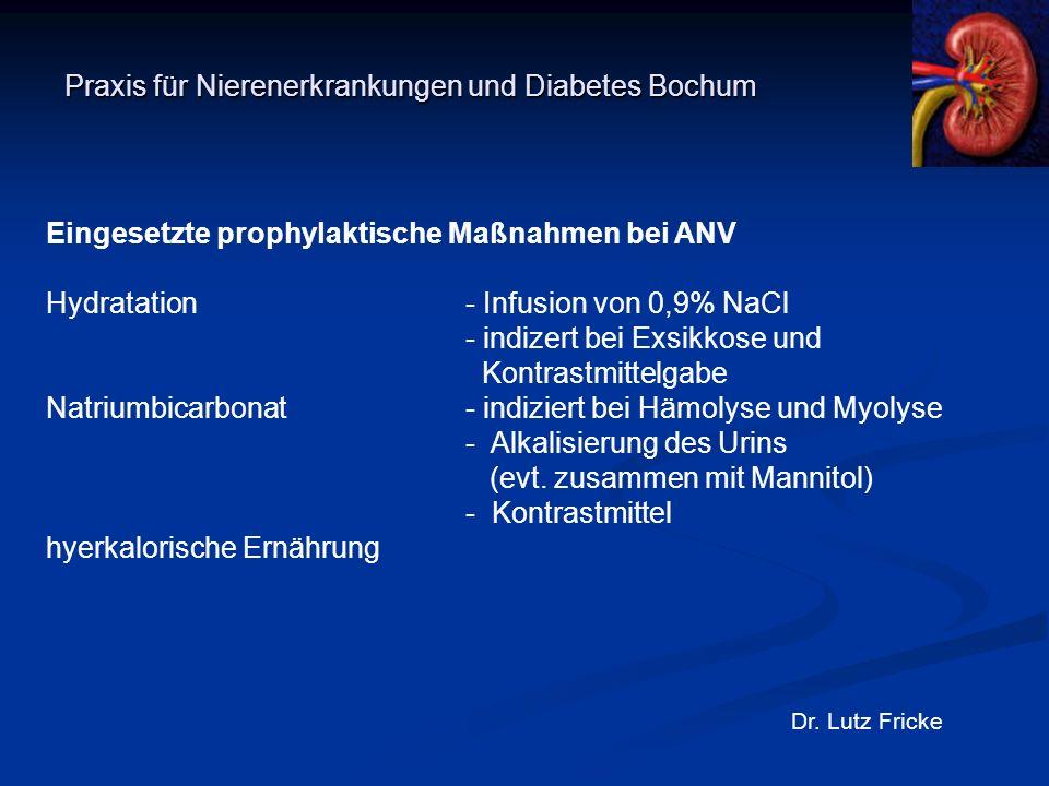 Praxis für Nierenerkrankungen und Diabetes Bochum Dr. Lutz Fricke Eingesetzte prophylaktische Maßnahmen bei ANV Hydratation- Infusion von 0,9% NaCl -