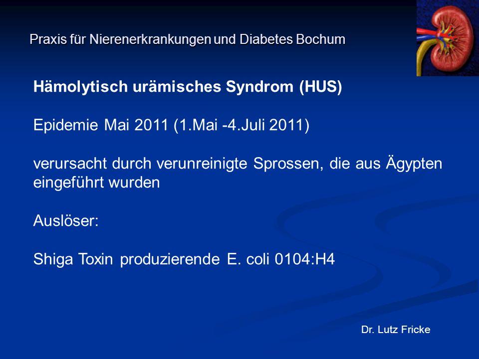 Praxis für Nierenerkrankungen und Diabetes Bochum Dr. Lutz Fricke Hämolytisch urämisches Syndrom (HUS) Epidemie Mai 2011 (1.Mai -4.Juli 2011) verursac