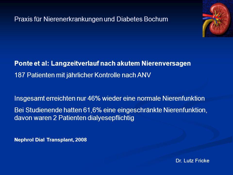 Praxis für Nierenerkrankungen und Diabetes Bochum Dr. Lutz Fricke Ponte et al: Langzeitverlauf nach akutem Nierenversagen 187 Patienten mit jährlicher