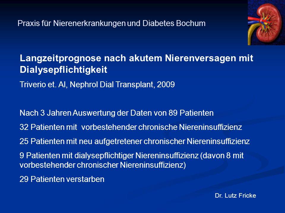 Praxis für Nierenerkrankungen und Diabetes Bochum Dr. Lutz Fricke Langzeitprognose nach akutem Nierenversagen mit Dialysepflichtigkeit Triverio et. Al