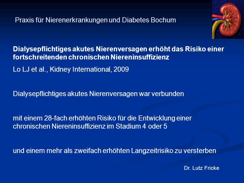 Praxis für Nierenerkrankungen und Diabetes Bochum Dr. Lutz Fricke Dialysepflichtiges akutes Nierenversagen erhöht das Risiko einer fortschreitenden ch