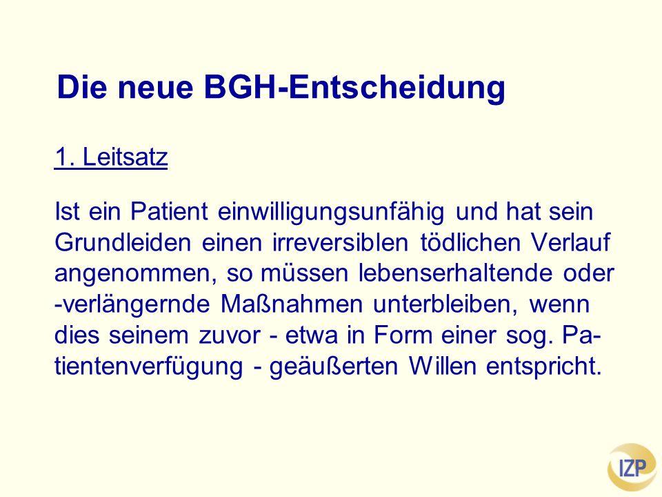 Die neue BGH-Entscheidung 1.