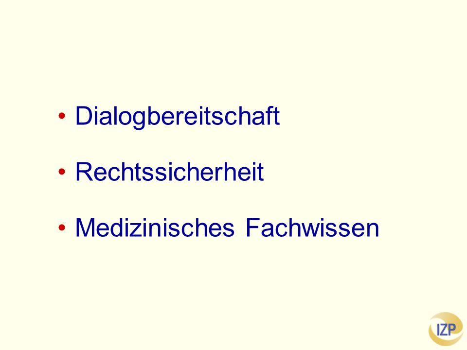 Dialogbereitschaft Rechtssicherheit Medizinisches Fachwissen
