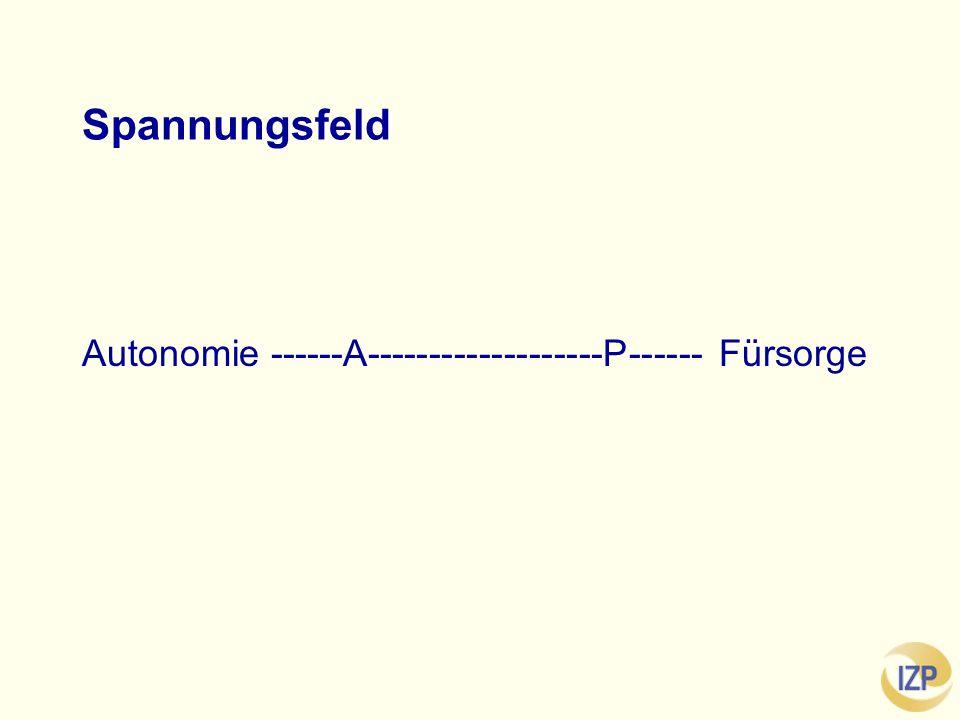 Spannungsfeld Autonomie ------A-------------------P------ Fürsorge