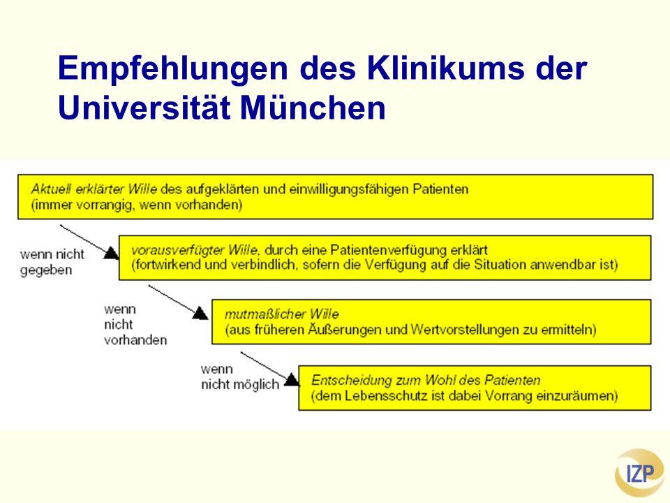 Empfehlungen des Klinikums der Universität München