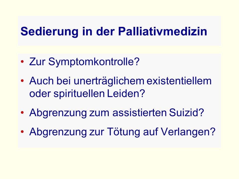 Sedierung in der Palliativmedizin Zur Symptomkontrolle.