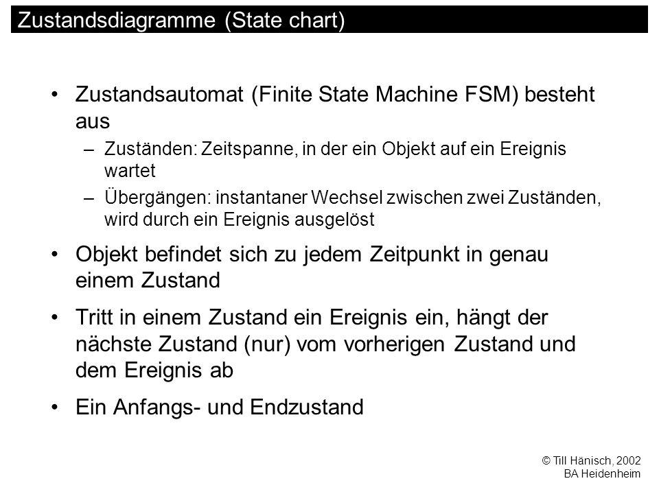 © Till Hänisch, 2002 BA Heidenheim Zustandsdiagramme (State chart) Zustandsautomat (Finite State Machine FSM) besteht aus –Zuständen: Zeitspanne, in d