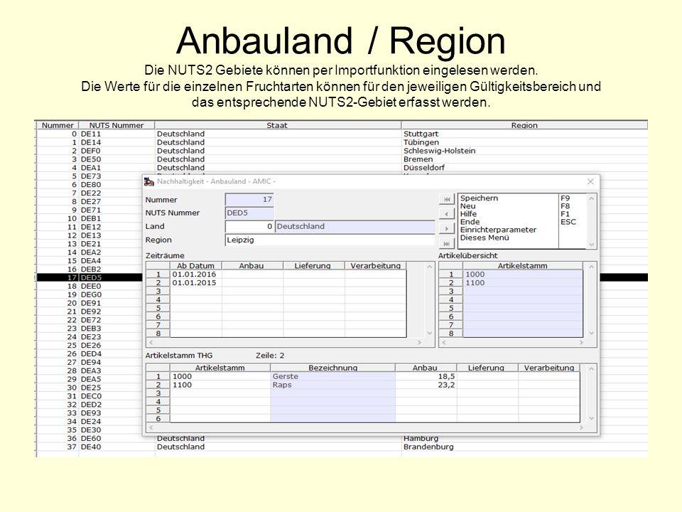 Anbauland / Region Die NUTS2 Gebiete können per Importfunktion eingelesen werden.