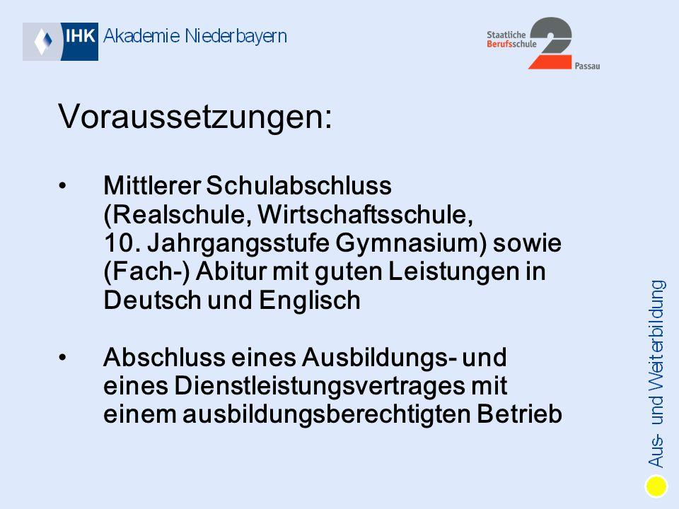 Voraussetzungen: Mittlerer Schulabschluss (Realschule, Wirtschaftsschule, 10.