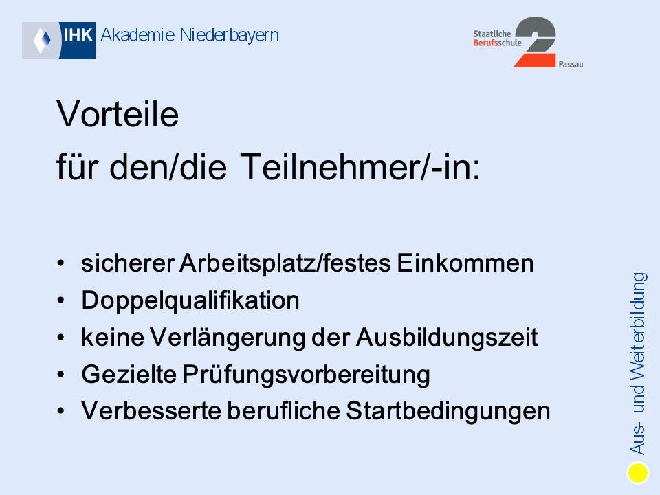 Vorteile für den/die Teilnehmer/-in: sicherer Arbeitsplatz/festes Einkommen Doppelqualifikation keine Verlängerung der Ausbildungszeit Gezielte Prüfungsvorbereitung Verbesserte berufliche Startbedingungen