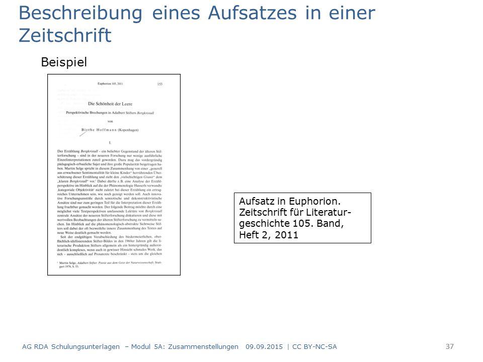 37 Beschreibung eines Aufsatzes in einer Zeitschrift Beispiel Aufsatz in Euphorion.