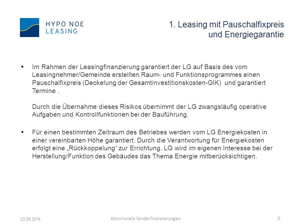 1. Leasing mit Pauschalfixpreis und Energiegarantie  Im Rahmen der Leasingfinanzierung garantiert der LG auf Basis des vom Leasingnehmer/Gemeinde ers