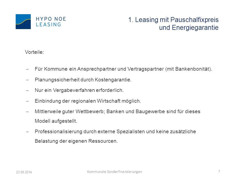 1. Leasing mit Pauschalfixpreis und Energiegarantie Vorteile:  Für Kommune ein Ansprechpartner und Vertragspartner (mit Bankenbonität).  Planungssic