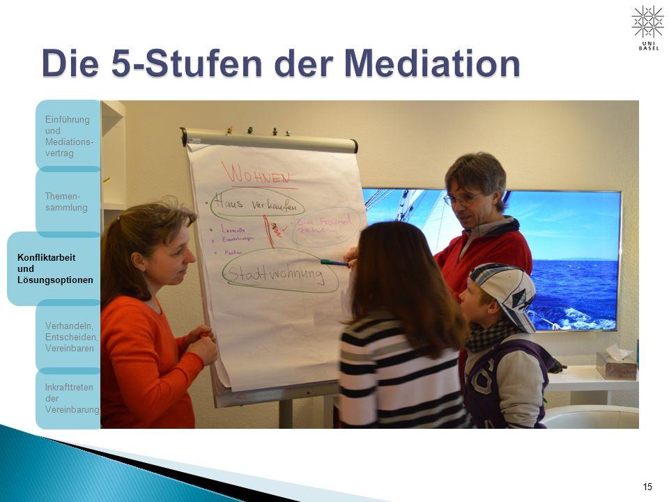 15 Einführung und Mediations- vertrag Themen- sammlung Konfliktarbeit und Lösungsoptionen Verhandeln, Entscheiden, Vereinbaren Inkrafttreten der Vereinbarung