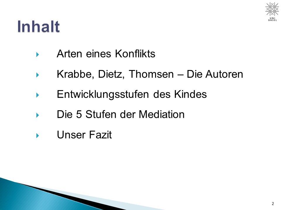  Arten eines Konflikts  Krabbe, Dietz, Thomsen – Die Autoren  Entwicklungsstufen des Kindes  Die 5 Stufen der Mediation  Unser Fazit 2