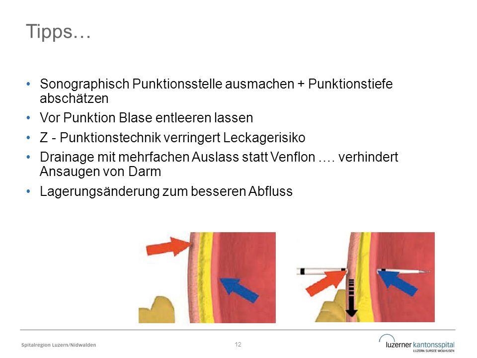 Tipps… Sonographisch Punktionsstelle ausmachen + Punktionstiefe abschätzen Vor Punktion Blase entleeren lassen Z - Punktionstechnik verringert Leckagerisiko Drainage mit mehrfachen Auslass statt Venflon ….