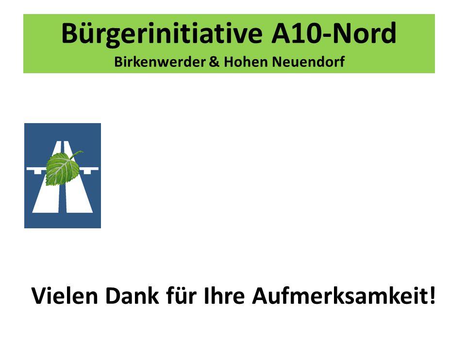 Bürgerinitiative A10-Nord Birkenwerder & Hohen Neuendorf Vielen Dank für Ihre Aufmerksamkeit!
