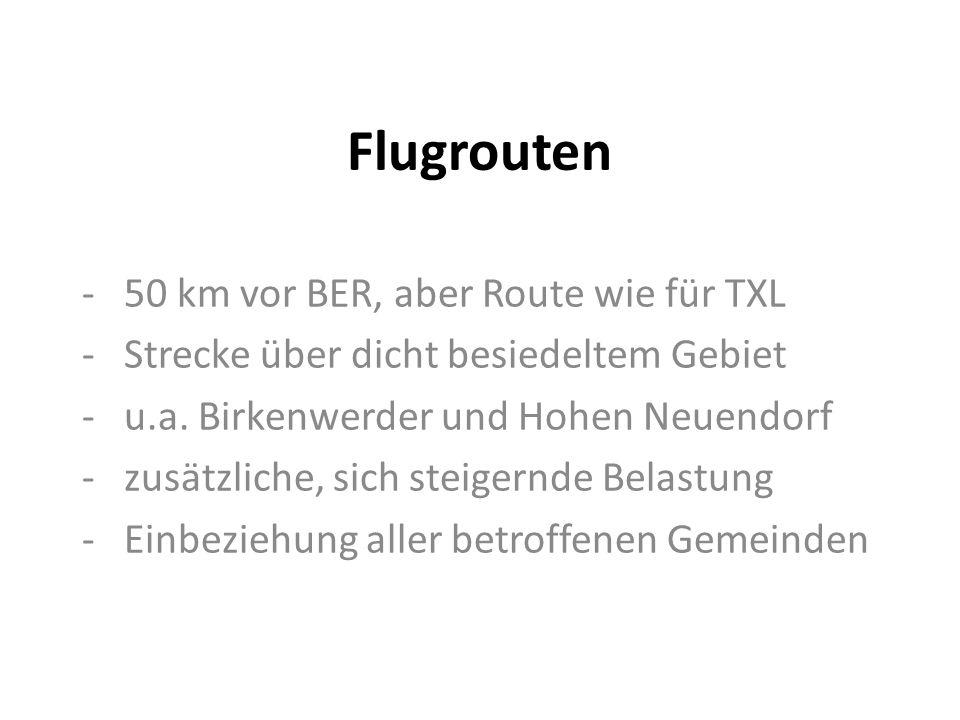 Flugrouten - 50 km vor BER, aber Route wie für TXL - Strecke über dicht besiedeltem Gebiet - u.a.