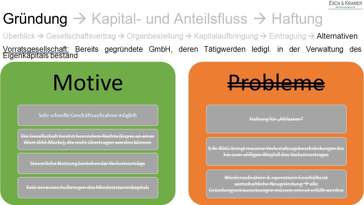 Überblick  Gesellschaftsvertrag  Organbestellung  Kapitalaufbringung  Eintragung  Alternativen Vorratsgesellschaft: Bereits gegründete GmbH, deren Tätigwerden ledigl.