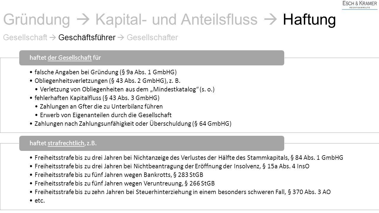 Gesellschaft  Geschäftsführer  Gesellschafter falsche Angaben bei Gründung (§ 9a Abs.